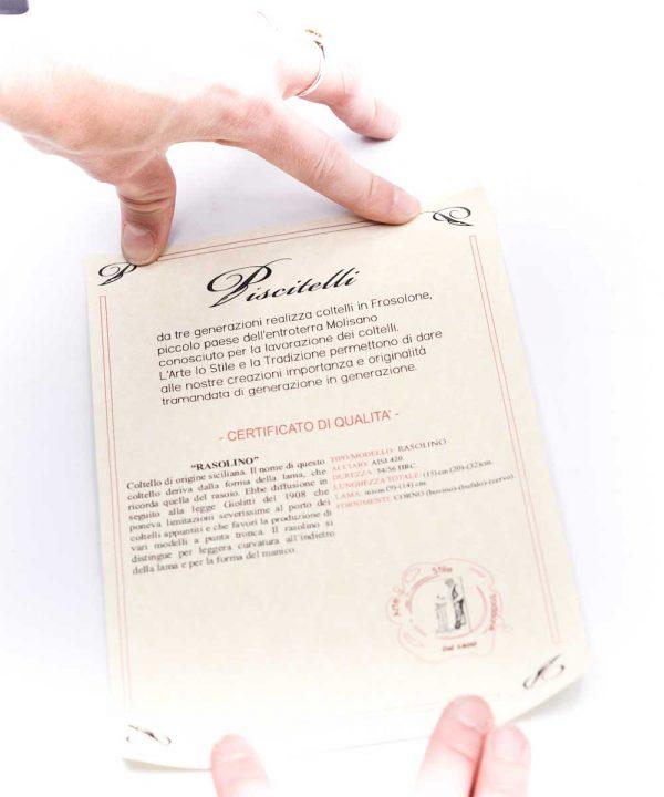 Piscitelli Rasolino Lama Martellata 20cm-coltellipersonalizzati.com